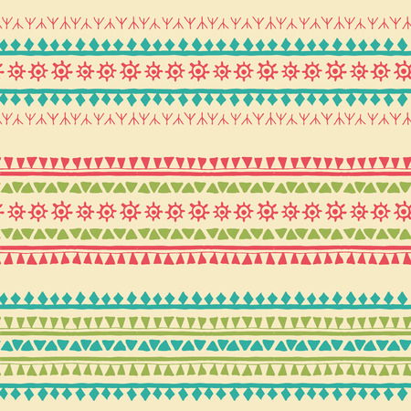 Hand drawn tribal seamless pattern with geometric ornament (triangles, archaic sun symbol, runes). Fresh ethnic colors. Every border ornament also posible use separately as an endless border.