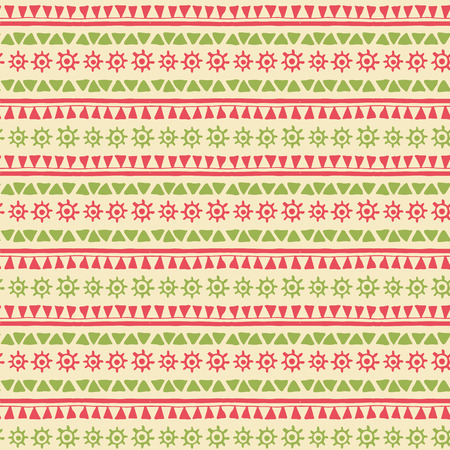 Hand drawn tribal seamless pattern with geometric ornament (triangles and archaic symbol of the sun). Fresh ethnic colors (red, green). Illustration