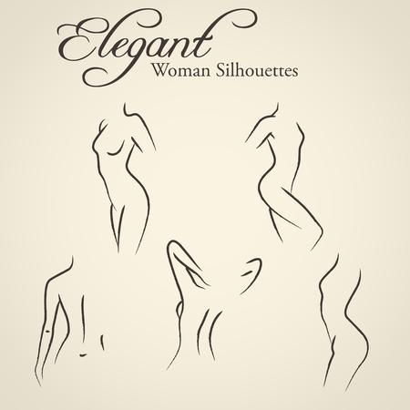 mujer desnuda: Conjunto de womans elegantes siluetas en un estilo de dibujo lineal (higiene ntimate, la salud de la mujer, la piel y el cuidado del cuerpo, la dieta, fitness, etc.)