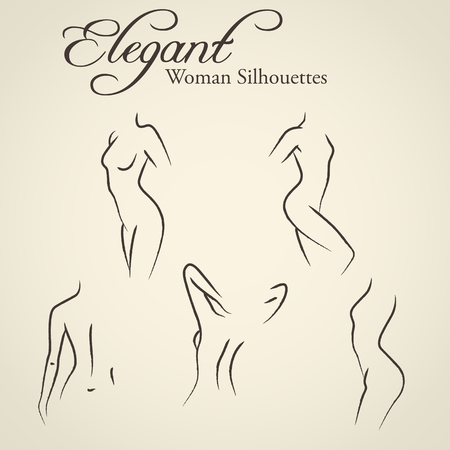 Set of elegant womans silhouettes in a linear sketch style (ntimate hygiene, woman health, skin and body care, diet, fitness etc.)