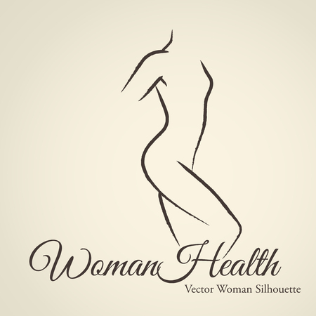 naked: Elegant womans silhouette (emblem) in a linear sketch style. Intimate Hygiene, woman health, Skin and body care, diet, fitness