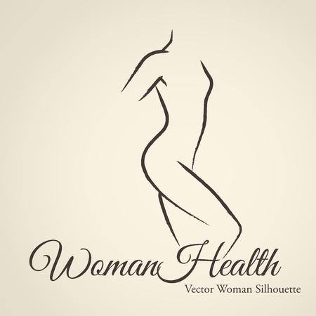 corps femme nue: Silhouette d'une femme �l�gante (embl�me) dans un style de dessin lin�aire. Hygi�ne Intime, la sant� de la femme, les soins de la peau et le corps, l'alimentation, de remise en forme Illustration