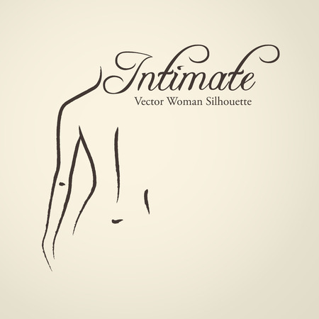 Elegant womans silhouette (emblem) in a linear sketch style. Intimate Hygiene, Skin and body care Illustration