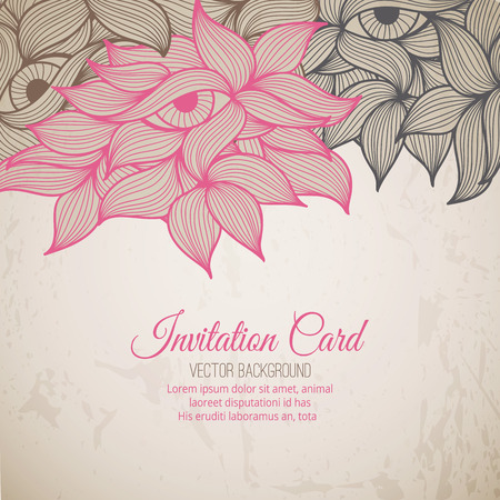 saturated: Stock vector background with wavy ornament (pink, brown and black leaves and eyes in a doodling stile). Warm saturated colors. Card template for invitations, Valentines Day, decoration etc.