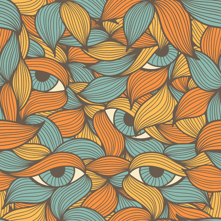dolorous: Abstract seamless pattern with orange and blue leaves and eyes. Hand-drawn wavy style. Lovely warm colors. Endless texture can be used for textile products, wrapping, packaging etc. Illustration