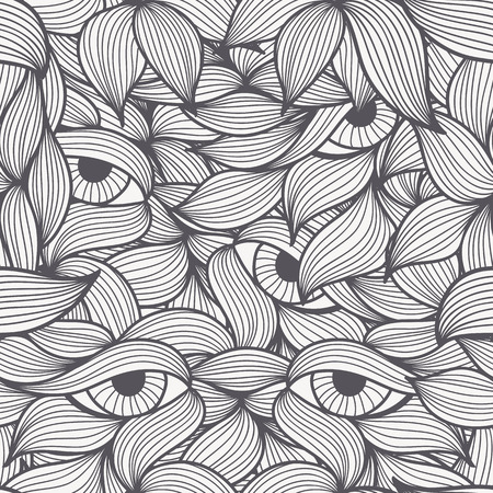 dolorous: Abstract seamless patterns with stylized leaves and dolorous  eyes. Hand-drawn wavy style. Monochrome (black and white). Can be used for textile products, wrapping, packaging etc.