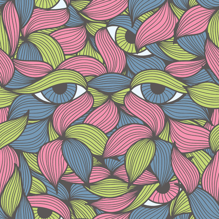 Abstract seamless pattern with face looking at you from the leaves. Hand-drawn wavy style. Lovely bright colors (green, pink, blue). Can be used for textile products, wrapping, packaging etc.