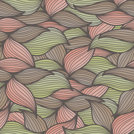 muted: Abstract seamless pattern with stylized leaves. Hand-drawn wavy style. Lovely muted colors (pink, brown, green). Endless texture can be used for textile products, wrapping, packaging etc.