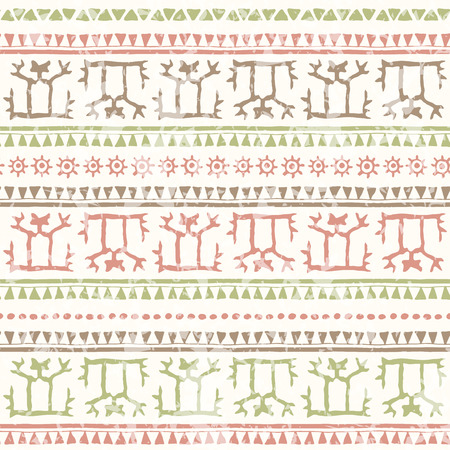 soft colors: Hand drawn tribal seamless pattern with geometric ornament. Ethnic style with stylized human figure, ancient symbols of the sun and triangles. Soft colors (pink, brown green) and a grunge texture