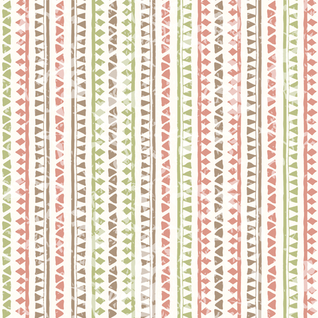 soft colors: Hand drawn tribal seamless pattern with vertical geometric ornament. Ethnic style. Soft colors (pink, brown, green) and a grunge texture Illustration
