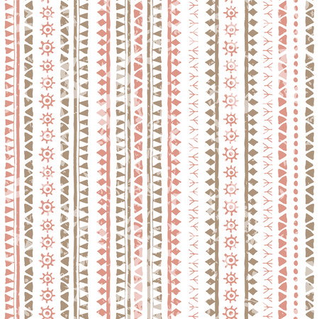 soft colors: Hand drawn tribal seamless pattern with vertical geometric ornament. Ethnic style with ancient symbols of the sun, triangles and runes. Soft colors (pink, brown) and a grunge texture