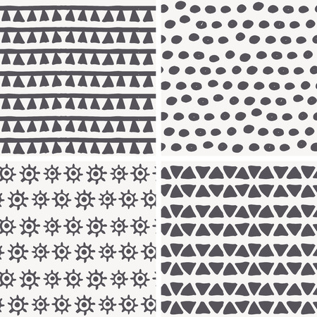archaic: Set of 4 hand drawn geometric seamless patterns in primitive (tribal) style. Monochrome. Endless backdrop with tiangles, dots, archaic symbols of the sun Illustration