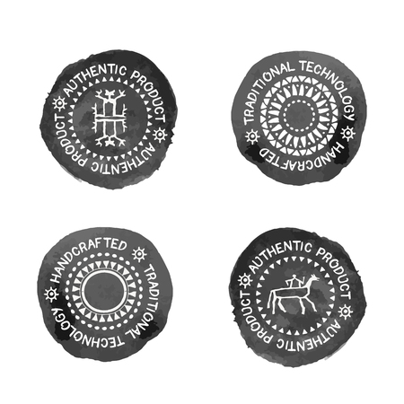 handcrafted: Set of 4 Badges for traditional  (authentic, handcrafted) products. Original design (stylized black stamp with a white text and tribal style signs). Monochrome Illustration