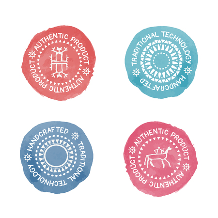 handcrafted: Set of 4 colorful Badges for traditional  (authentic, handcrafted) products. Original design (stylized stamp with a white text and tribal style signs). Easy to recolor