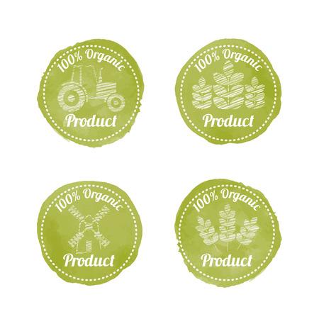 (天然) の農業のバッジが緑に 4 個のセットです。オリジナル デザイン (白のテキストおよびフリーハンド スタイル写真と様式化されたオリーブ グリ  イラスト・ベクター素材