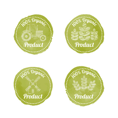 Set of 4 green AGRICULTURAL Badges for organic (natural) products. Original design (stylized olive green stamp with a white text and scribble style pictures).