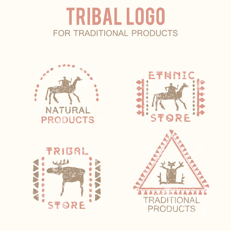 productos naturales: Set of 4 tribal badges (traditional and natural products, ethnic and tribal store). Hand drawn ethnic style with stylized figures (man, rider, moose) and a grunge texture. Soft colors (pink, brown) Vectores