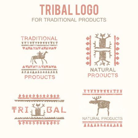 productos naturales: Conjunto de 4 insignias tribales (productos tradicionales y naturales, �tnicos y tribales tienda). Dibujado a mano de estilo �tnico, con figuras estilizadas (hombre, jinete, alces) y una textura grunge. Colores suaves (rosa, marr�n) Vectores