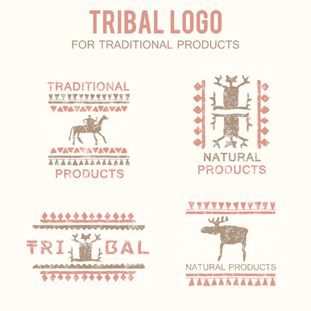 natural products: Set of 4 tribal badges (traditional and natural products, ethnic and tribal store). Hand drawn ethnic style with stylized figures (man, rider, moose) and a grunge texture. Soft colors (pink, brown) Illustration