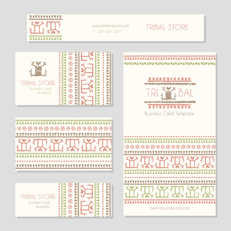 ethnic style: Set of business card templates with a stylized human figure (as a logo) and tribal geometric pattern. Ethnic style design. Soft color palette (red, brown, green)