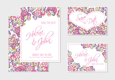 saturated: Set of wedding card templates (save the date, RSVP) with bright floral background (pink and violet flowers in doodling stile) and a sample text. Lovely saturated colors. Illustration