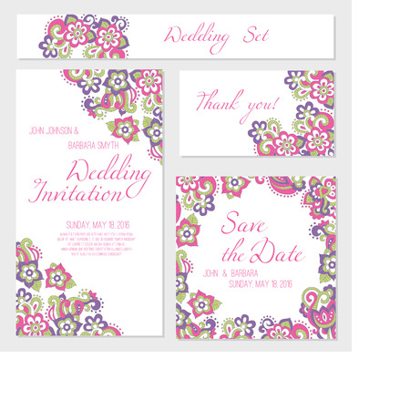 saturated color: Set of wedding card templates (invitation, thank you card, save the date, RSVP) with bright floral background (pink and violet flowers in doodling stile) and a sample text. Lovely saturated colors.