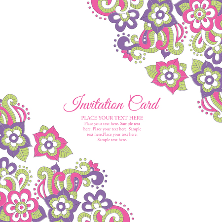 saturated color: Stock vector background with floral ornament (bright pink and violet flowers in doodling stile). Lovely saturated colors. Card template for invitations, Valentines Day, decoration etc.
