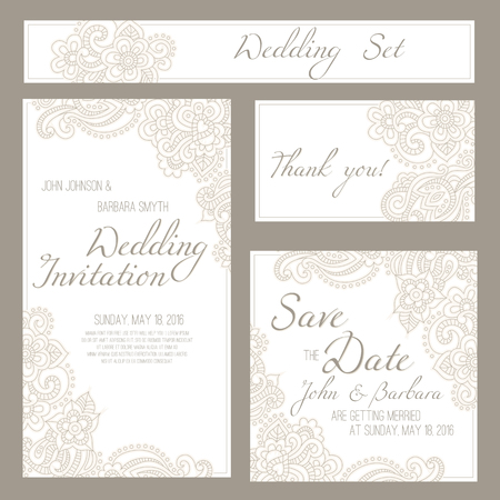 flower ornament: Set of wedding, invitation or anniversary cards with romantic floral background and sample text. Subtle pastel tints and elegant linear ornament. Illustration