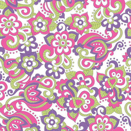 saturated: Seamless pattern with bright pink and violet flowers and green leaves in doodling style. Lovely saturated colors
