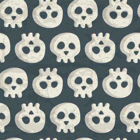 cranium: Halloween seamless pattern with spooky skulls on a dark blue background. Desaturated muted colors (dark blue, off-white) with a grunge texture. Comic cranium for childish design