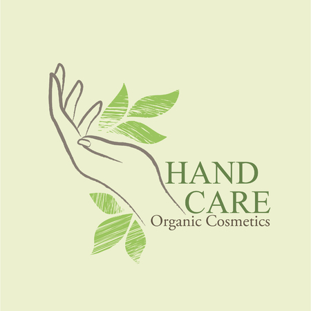 Organic Cosmetics Design elements with contoured womans hand and handdrawn green leaves