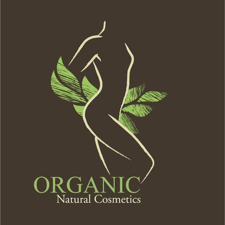 凸凹のある女性のシルエットと手描き緑葉有機化粧品デザイン要素