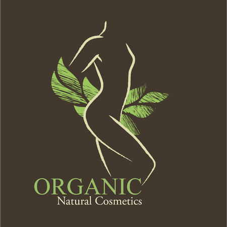 Organic Cosmetics Design elements with contoured womans silhouette and handdrawn green leaves