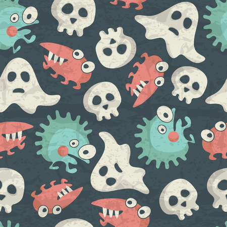 Halloween seamless pattern with spooky monsters, ghosts and skulls on a dark blue background. Desaturated muted colors with a grunge texture. Funny characters for childish design