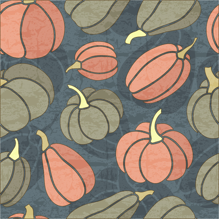 desaturated colors: Halloween simless pattern with dark grey and pink pumpkins on a dark blue background. Desaturated dark colors. Endless texture can be used for wrapping, packaging etc.