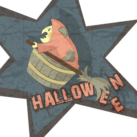 Halloween Witch flying to the Halloween Party. Cartoon character. Cropped using a clipping mask