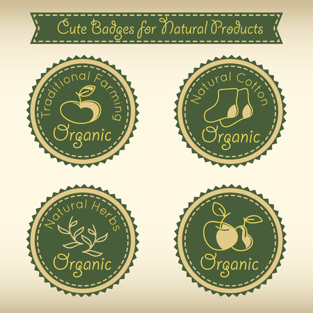 funny pictures: Set of cute badges for natural product (traditional farming, natural cotton, natural herbs, organic farming, natural healthy food). Dark green round badges with funny pictures in cartoon style