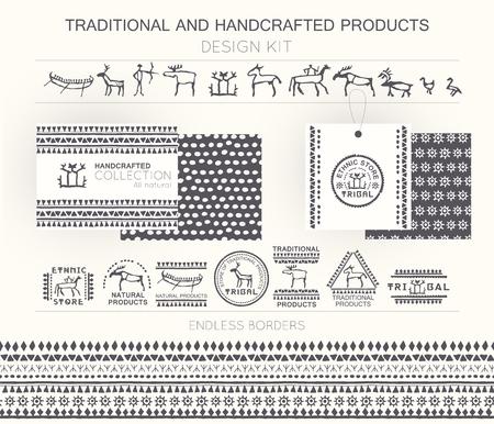 cave painting: Kit de dise�o tradicional y productos artesanales con insignias tribales, plantillas de logotipo y fronteras infinitas. Monocromo. Dibujado a mano de estilo �tnico (pintura europea de la cueva) Vectores