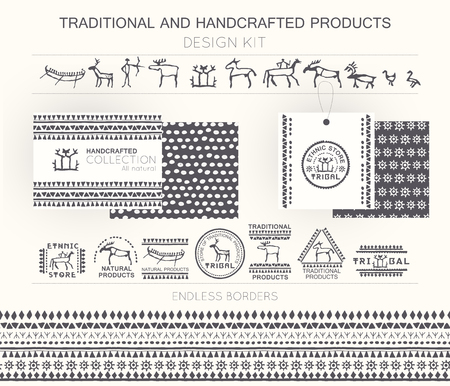 handcrafted: Traditional and handcrafted products design kit with tribal badges, logo templates and endless borders. Monochrome. Hand drawn ethnic style (European cave painting) Illustration