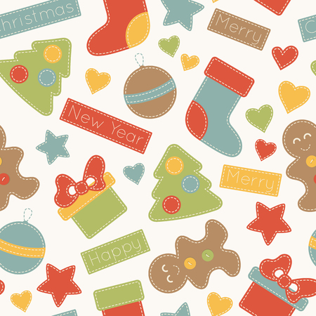 selebration: Childish Christmas seamless pattern with xmas trees, stockings, gifts, Christmas baubles, and gingerbread men decorated by stars, hearts and inscriptions. Hand-sewn style elements with white seams. Illustration