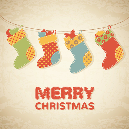 christmas stockings: Childish Christmas illustration with colorful stockings with little presents. Merry Christmas congratulation card. Hand-sewn style elements with white seams and light brown grunge background. Illustration