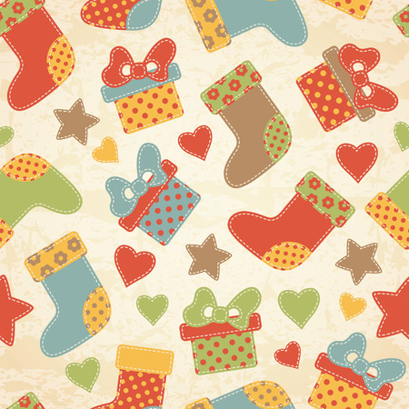 christmas seamless pattern: Childish Christmas seamless pattern with colorful stockings and  gifts decorated by stars, hearts and inscriptions. Hand-sewn style elements with white seams. Light brown grunge background.