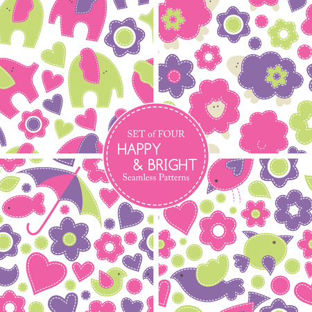 sewn: Set of vector seamless pattern with animals decorated by flowers and hearts. Cartoon childish pattern in bright fresh colors on a white background. Hand-sewn style with white seams Illustration