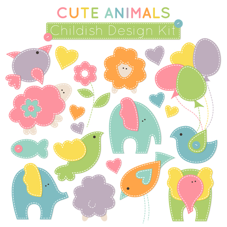 Set of colorful animals (baby birds, cute elephants, little lambs etc.) - design elements for babies (childrens wear, decoration). Stylized applique with white seams. Vector illustration.