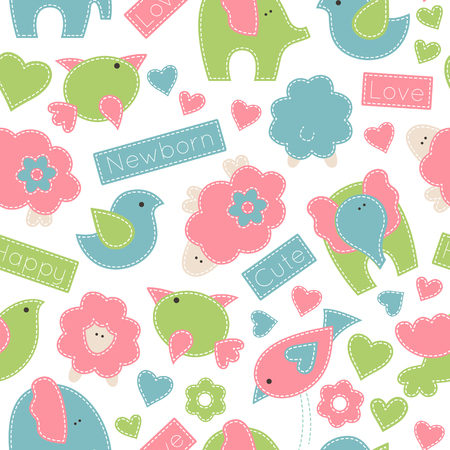 Vector seamless pattern with baby birds, elephants and little lambs decorated by flowers, hearts and inscriptions. Childish animals in soft colors on a white background. Hand-sewn style (white seams) Illustration