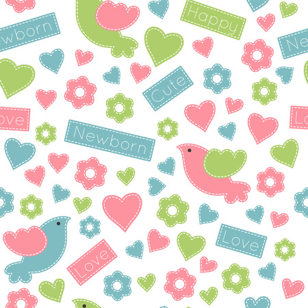 sewn: Vector seamless pattern with cute baby birds decorated by flowers, hearts and inscriptions (Newborn, cute, love). Childish animals in soft colors ona white background. Hand-sewn style with white seams