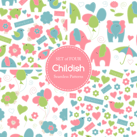 sewing: Set of childish vector seamless pattern with birds, lambs and elephants decorated by flowers, hearts, baloons, umbrellas and inscriptions. Soft pastel colors, hand sewing style with white seams