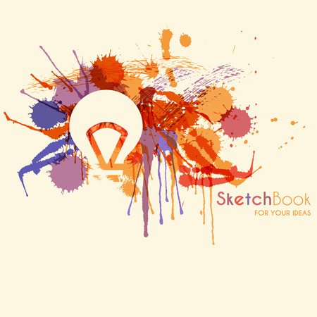 hues: Abstract background with colorful ink stains and a light bulb (idea symbol) on a off-white background. Sketchbook for your ideas. Saturated purple hues balanced by red and orange.