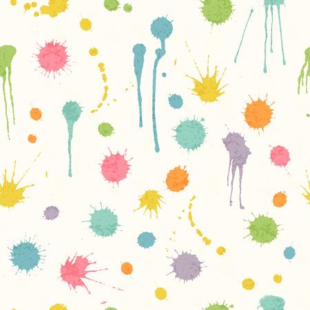 カラフルなインクと抽象的なシームレスなパターンは、白い背景の汚れ。ラッピング、包装、織物および室内装飾の幸せな幼稚な背景
