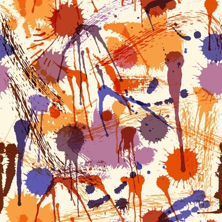 hues: Abstract seamless pattern with colorful ink stains on a off-white background. Saturated purple hues balanced by red-brown and orange. Backdrop for wrapping, packaging, textile and interior decoration Illustration